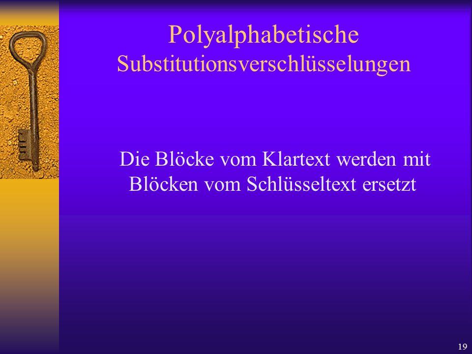 19 Polyalphabetische Substitutionsverschlüsselungen Die Blöcke vom Klartext werden mit Blöcken vom Schlüsseltext ersetzt