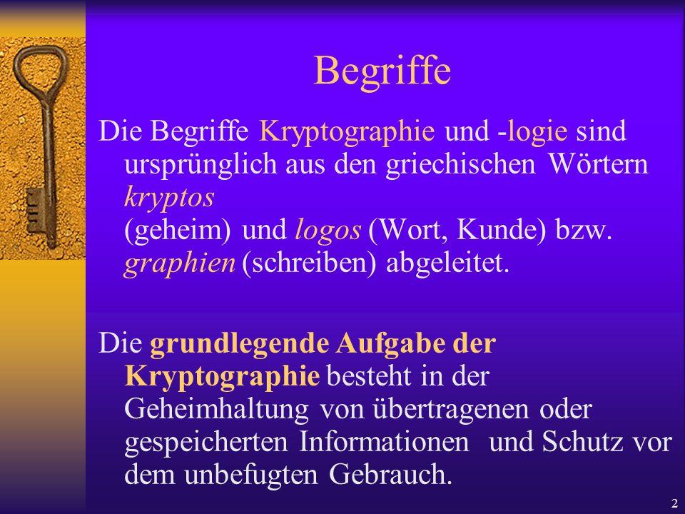 2 Begriffe Die Begriffe Kryptographie und -logie sind ursprünglich aus den griechischen Wörtern kryptos (geheim) und logos (Wort, Kunde) bzw. graphien
