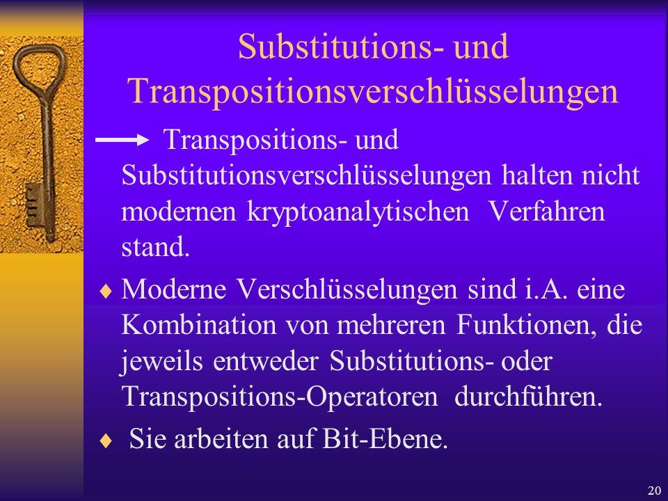 20 Substitutions- und Transpositionsverschlüsselungen Transpositions- und Substitutionsverschlüsselungen halten nicht modernen kryptoanalytischen Verf
