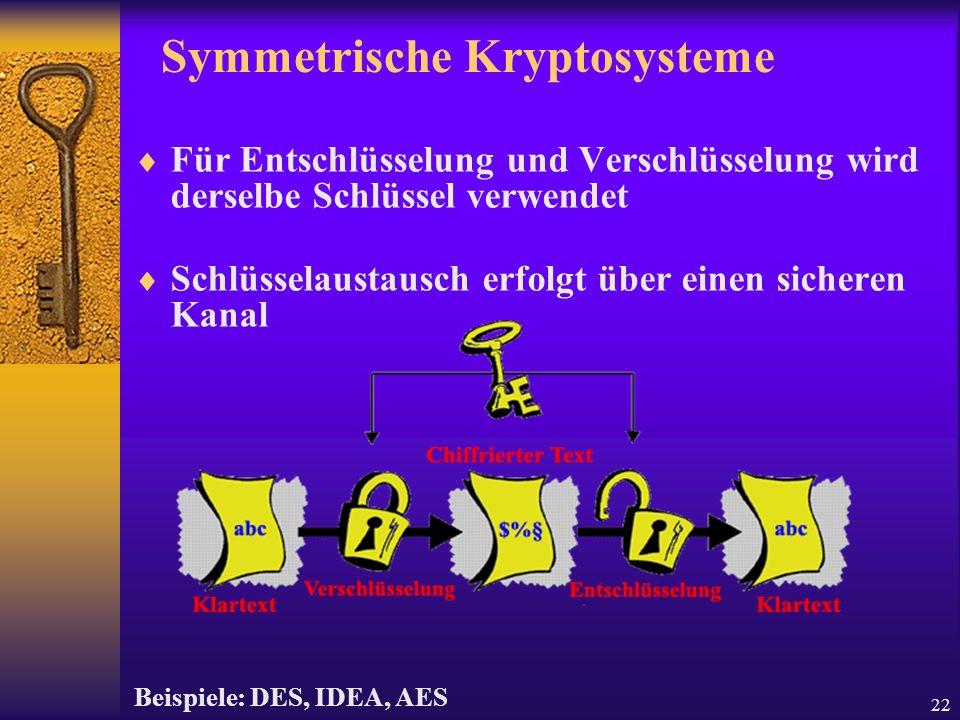 22 Symmetrische Kryptosysteme Für Entschlüsselung und Verschlüsselung wird derselbe Schlüssel verwendet Schlüsselaustausch erfolgt über einen sicheren