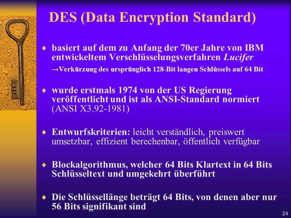 24 DES (Data Encryption Standard) basiert auf dem zu Anfang der 70er Jahre von IBM entwickeltem Verschlüsselungsverfahren Lucifer Verkürzung des urspr