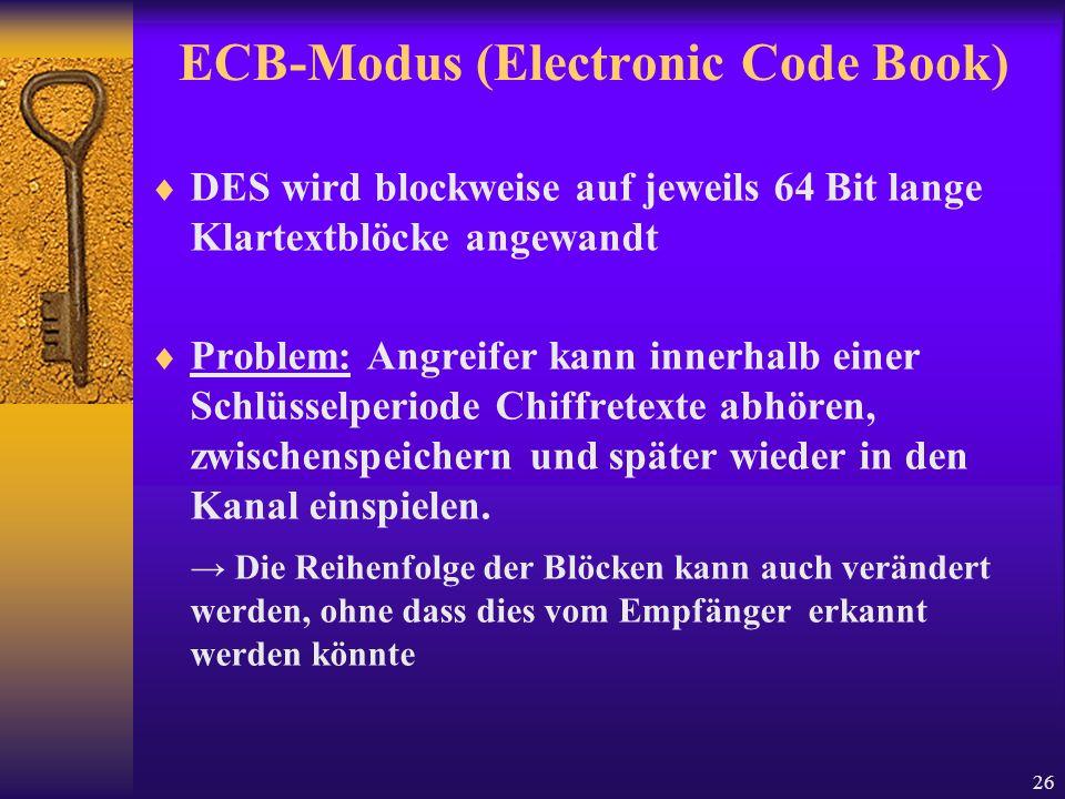 26 ECB-Modus (Electronic Code Book) DES wird blockweise auf jeweils 64 Bit lange Klartextblöcke angewandt Problem: Angreifer kann innerhalb einer Schl