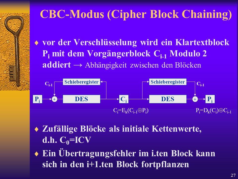 27 CBC-Modus (Cipher Block Chaining) vor der Verschlüsselung wird ein Klartextblock P i mit dem Vorgängerblock C i-1 Modulo 2 addiert Abhängigkeit zwi