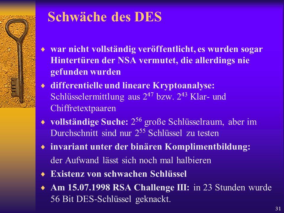 31 Schwäche des DES war nicht vollständig veröffentlicht, es wurden sogar Hintertüren der NSA vermutet, die allerdings nie gefunden wurden differentie