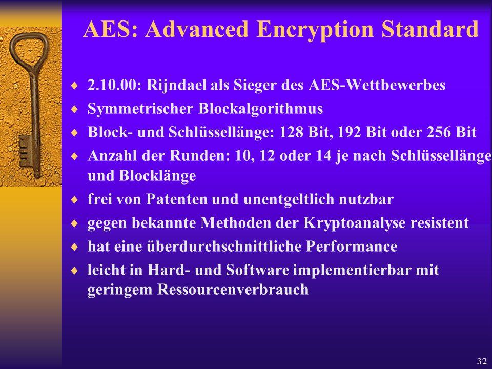 32 AES: Advanced Encryption Standard 2.10.00: Rijndael als Sieger des AES-Wettbewerbes Symmetrischer Blockalgorithmus Block- und Schlüssellänge: 128 B