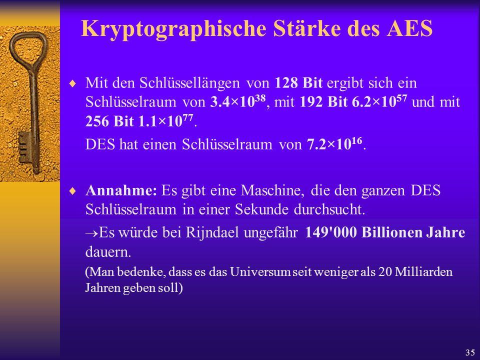 35 Kryptographische Stärke des AES Mit den Schlüssellängen von 128 Bit ergibt sich ein Schlüsselraum von 3.4×10 38, mit 192 Bit 6.2×10 57 und mit 256