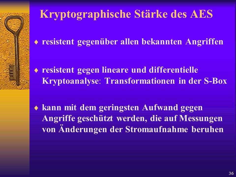 36 Kryptographische Stärke des AES resistent gegenüber allen bekannten Angriffen resistent gegen lineare und differentielle Kryptoanalyse: Transformat