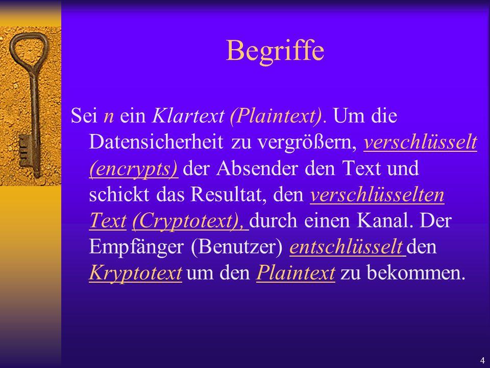 4 Begriffe Sei n ein Klartext (Plaintext). Um die Datensicherheit zu vergrößern, verschlüsselt (encrypts) der Absender den Text und schickt das Result