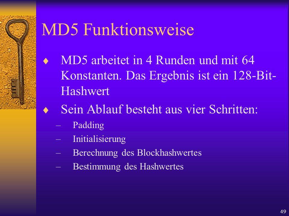 49 MD5 Funktionsweise MD5 arbeitet in 4 Runden und mit 64 Konstanten. Das Ergebnis ist ein 128-Bit- Hashwert Sein Ablauf besteht aus vier Schritten: –