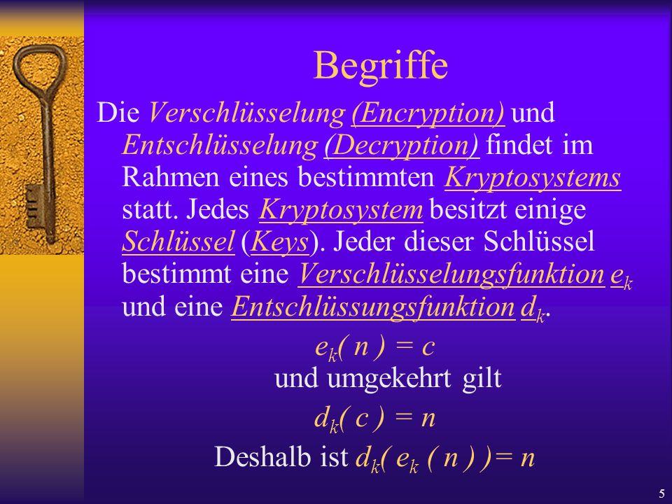 5 Begriffe Die Verschlüsselung (Encryption) und Entschlüsselung (Decryption) findet im Rahmen eines bestimmten Kryptosystems statt. Jedes Kryptosystem
