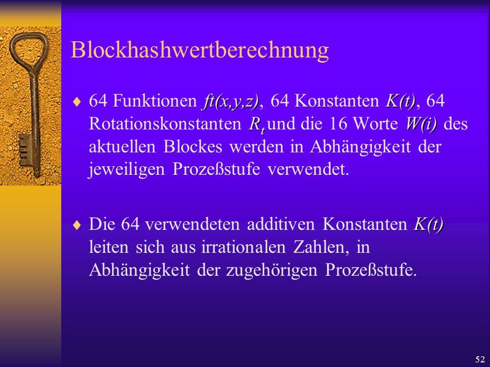 52 Blockhashwertberechnung ft(x,y,z)K(t) R t W(i) 64 Funktionen ft(x,y,z), 64 Konstanten K(t), 64 Rotationskonstanten R t und die 16 Worte W(i) des ak