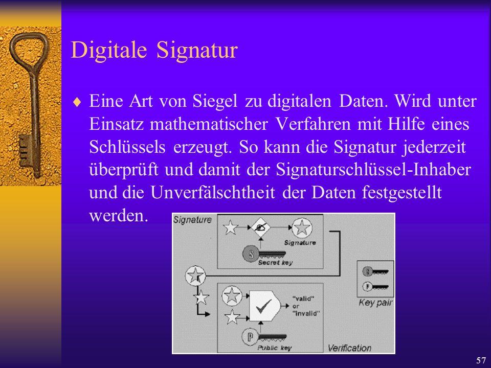 57 Digitale Signatur Eine Art von Siegel zu digitalen Daten. Wird unter Einsatz mathematischer Verfahren mit Hilfe eines Schlüssels erzeugt. So kann d
