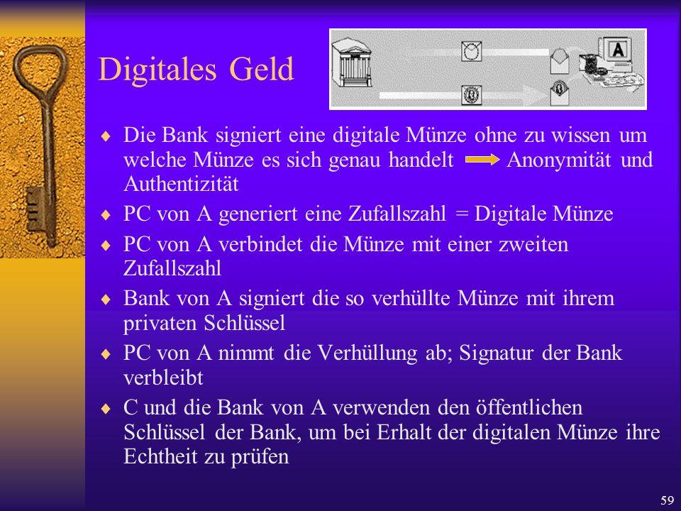59 Digitales Geld Die Bank signiert eine digitale Münze ohne zu wissen um welche Münze es sich genau handelt Anonymität und Authentizität PC von A gen