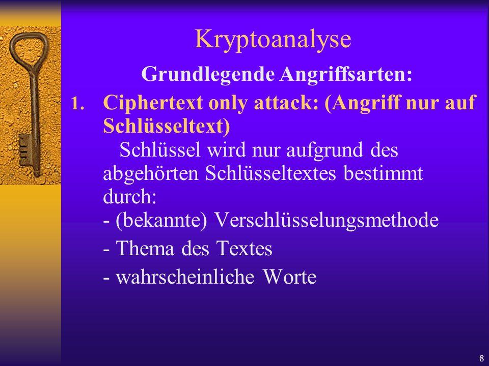 8 Kryptoanalyse Grundlegende Angriffsarten: 1. Ciphertext only attack: (Angriff nur auf Schlüsseltext) Schlüssel wird nur aufgrund des abgehörten Schl
