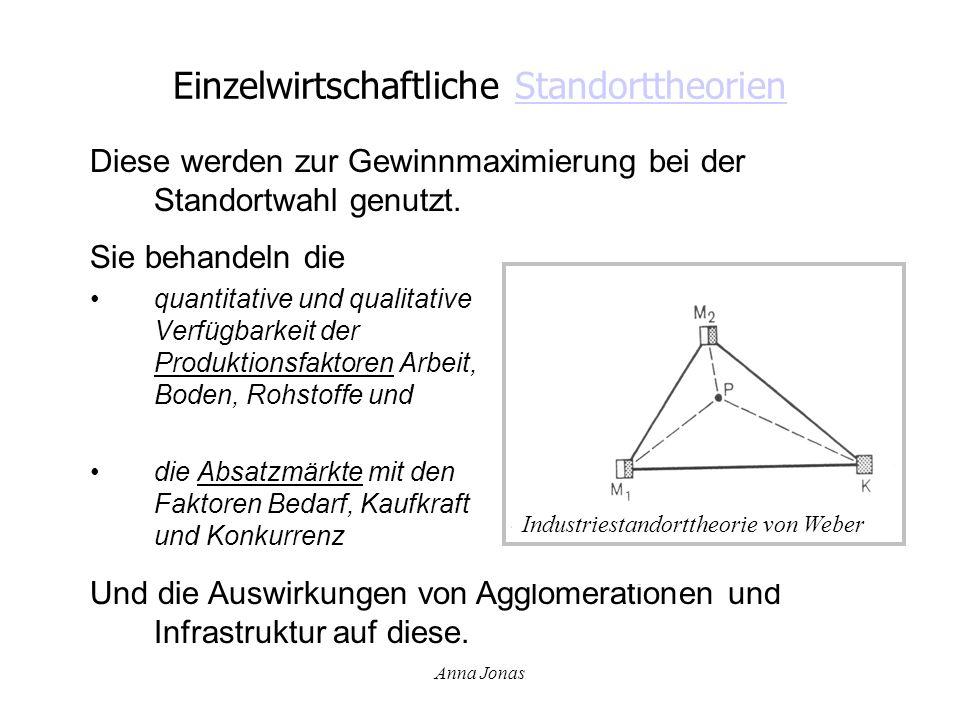 Anna Jonas Einzelwirtschaftliche StandorttheorienStandorttheorien Sie behandeln die quantitative und qualitative Verfügbarkeit der Produktionsfaktoren