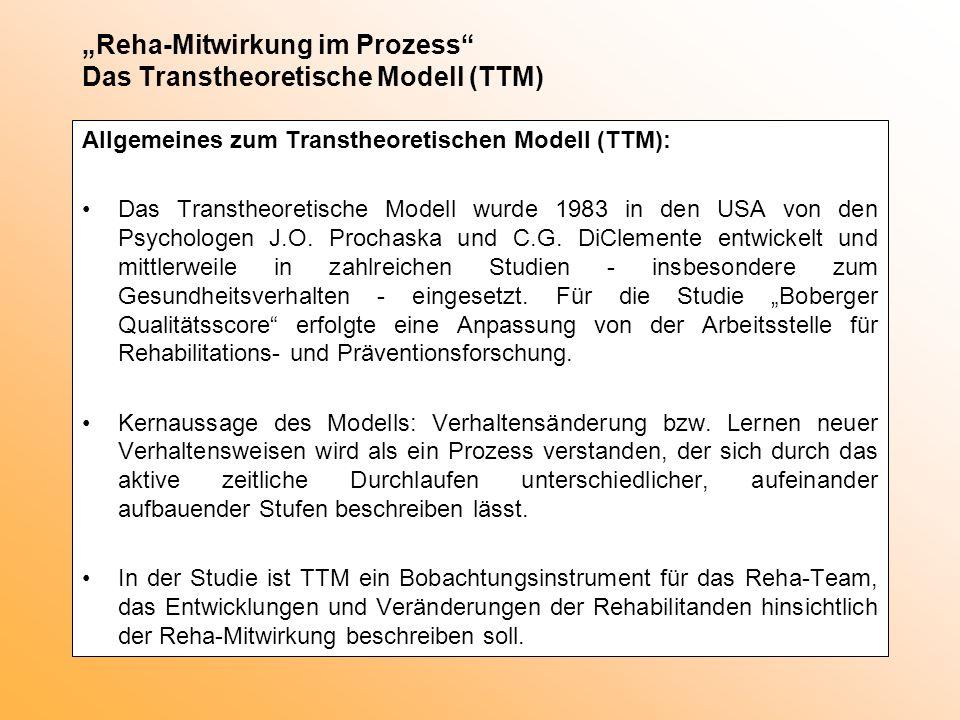 Reha-Mitwirkung im Prozess Das Transtheoretische Modell (TTM) Allgemeines zum Transtheoretischen Modell (TTM): Das Transtheoretische Modell wurde 1983