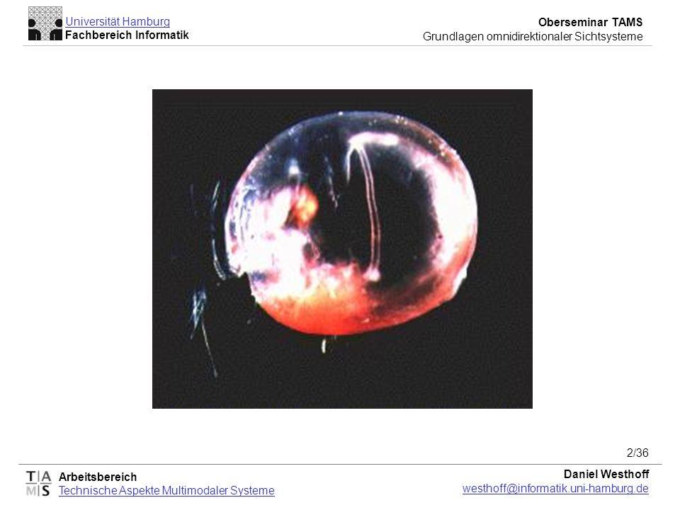 Arbeitsbereich Technische Aspekte Multimodaler Systeme Universität Hamburg Fachbereich Informatik Oberseminar TAMS Grundlagen omnidirektionaler Sichtsysteme Daniel Westhoff westhoff@informatik.uni-hamburg.de 3/36 Inspiration Biologie omnidirektionale Sicht in der Natur: Tag-Insekten Nacht-Insekten Krustentieren Beispiel: Gigantocypris Große Augen Optik wie bei Teleskopen einfallendes Licht Lücke