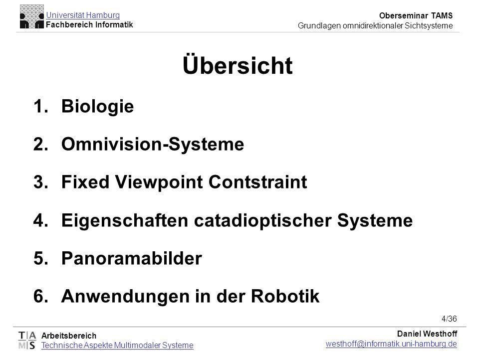 Arbeitsbereich Technische Aspekte Multimodaler Systeme Universität Hamburg Fachbereich Informatik Oberseminar TAMS Grundlagen omnidirektionaler Sichts