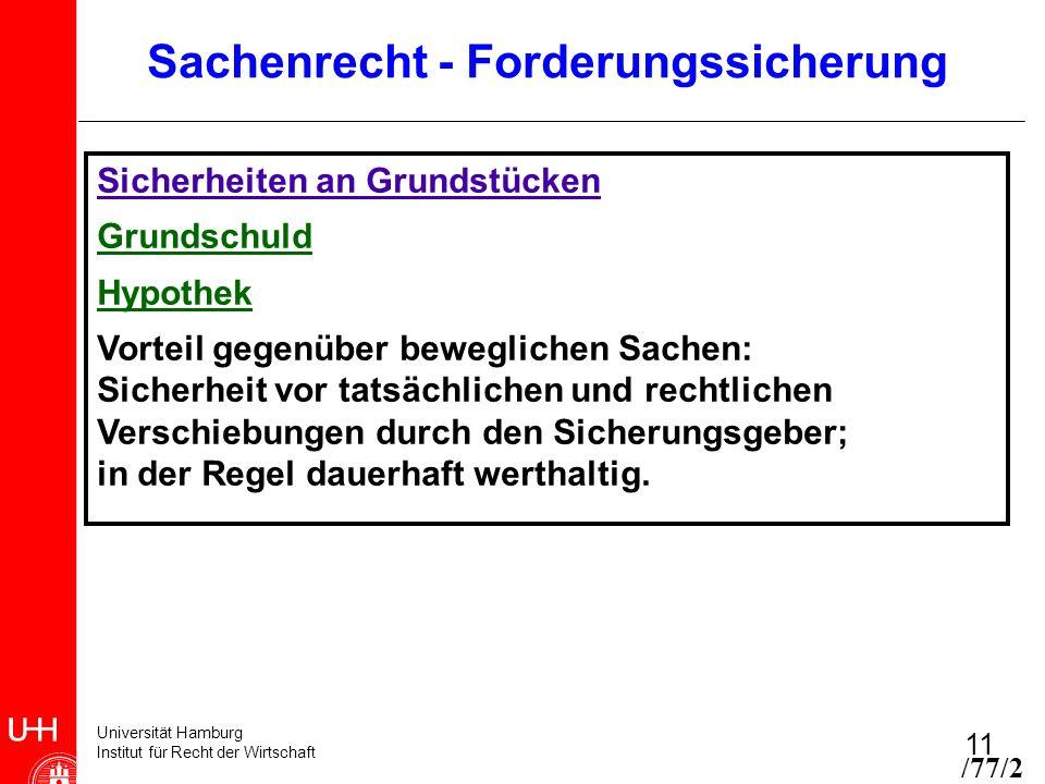 Universität Hamburg Institut für Recht der Wirtschaft 11 /77/2 Sicherheiten an Grundstücken Grundschuld Hypothek Vorteil gegenüber beweglichen Sachen: