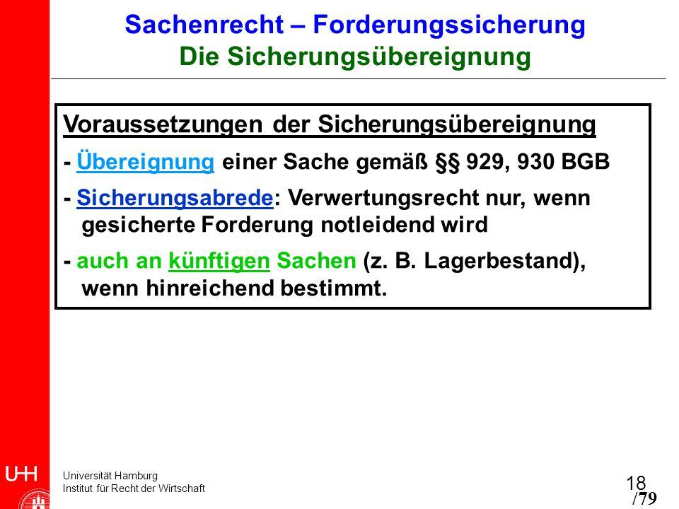 Universität Hamburg Institut für Recht der Wirtschaft 18 Voraussetzungen der Sicherungsübereignung - Übereignung einer Sache gemäß §§ 929, 930 BGB - S