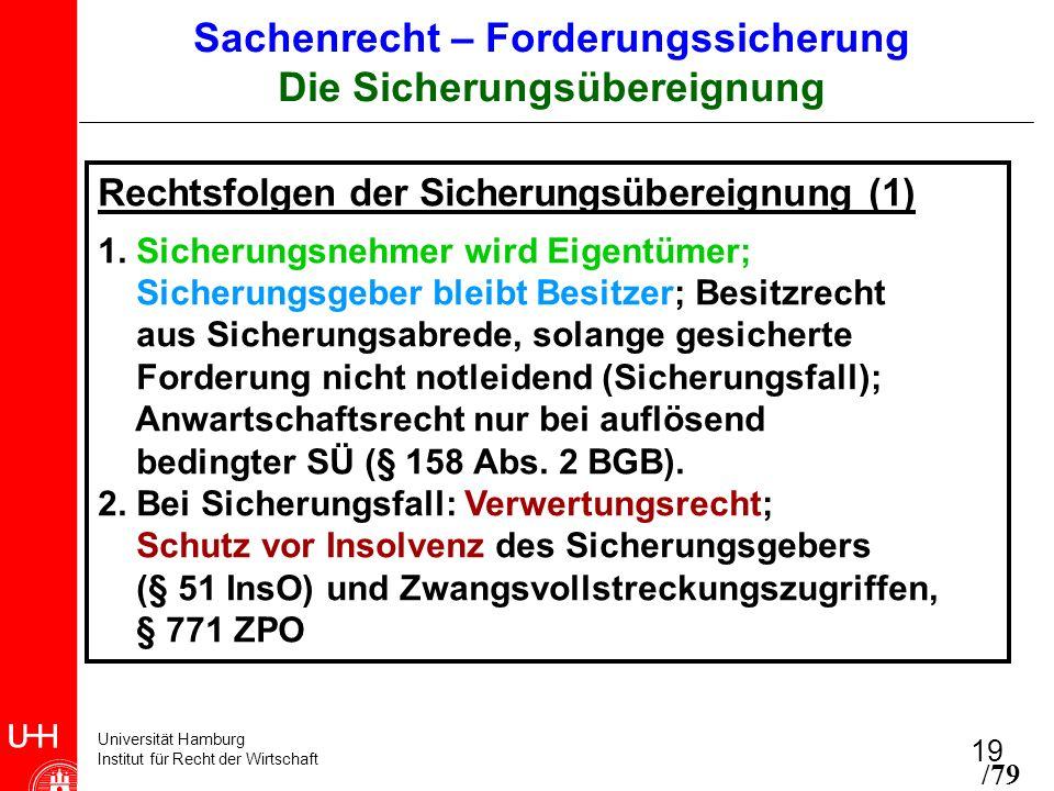 Universität Hamburg Institut für Recht der Wirtschaft 19 Rechtsfolgen der Sicherungsübereignung (1) 1. Sicherungsnehmer wird Eigentümer; Sicherungsgeb