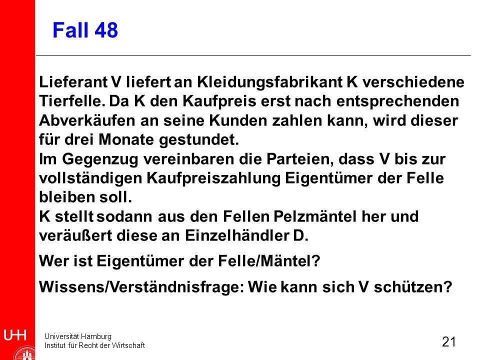 Universität Hamburg Institut für Recht der Wirtschaft 21 Lieferant V liefert an Kleidungsfabrikant K verschiedene Tierfelle. Da K den Kaufpreis erst n