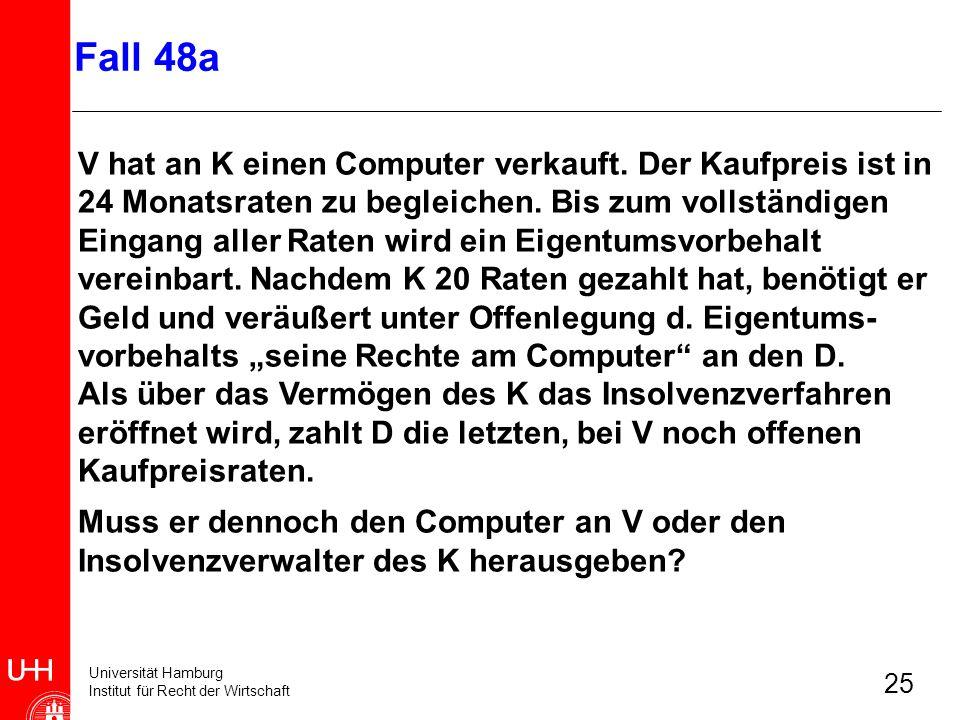 Universität Hamburg Institut für Recht der Wirtschaft 25 V hat an K einen Computer verkauft. Der Kaufpreis ist in 24 Monatsraten zu begleichen. Bis zu