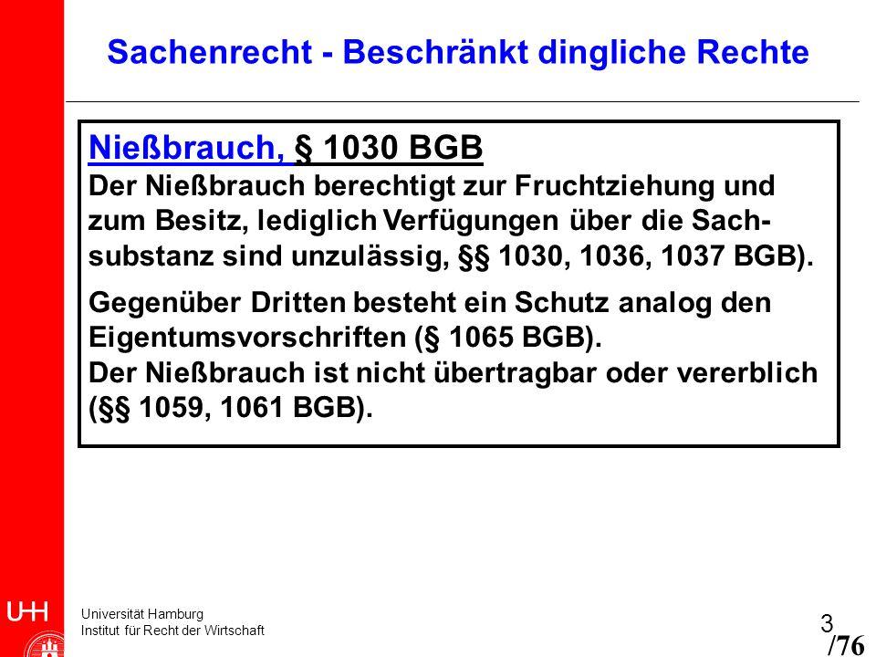 Universität Hamburg Institut für Recht der Wirtschaft 3 Nießbrauch, § 1030 BGB Der Nießbrauch berechtigt zur Fruchtziehung und zum Besitz, lediglich V