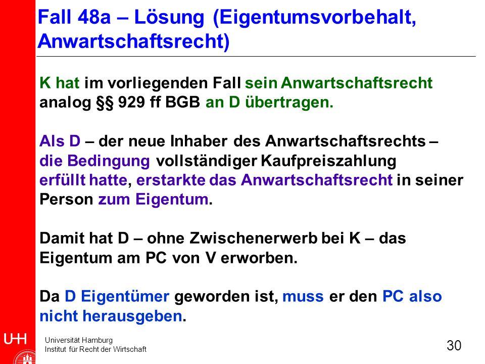 Universität Hamburg Institut für Recht der Wirtschaft 30 K hat im vorliegenden Fall sein Anwartschaftsrecht analog §§ 929 ff BGB an D übertragen. Als