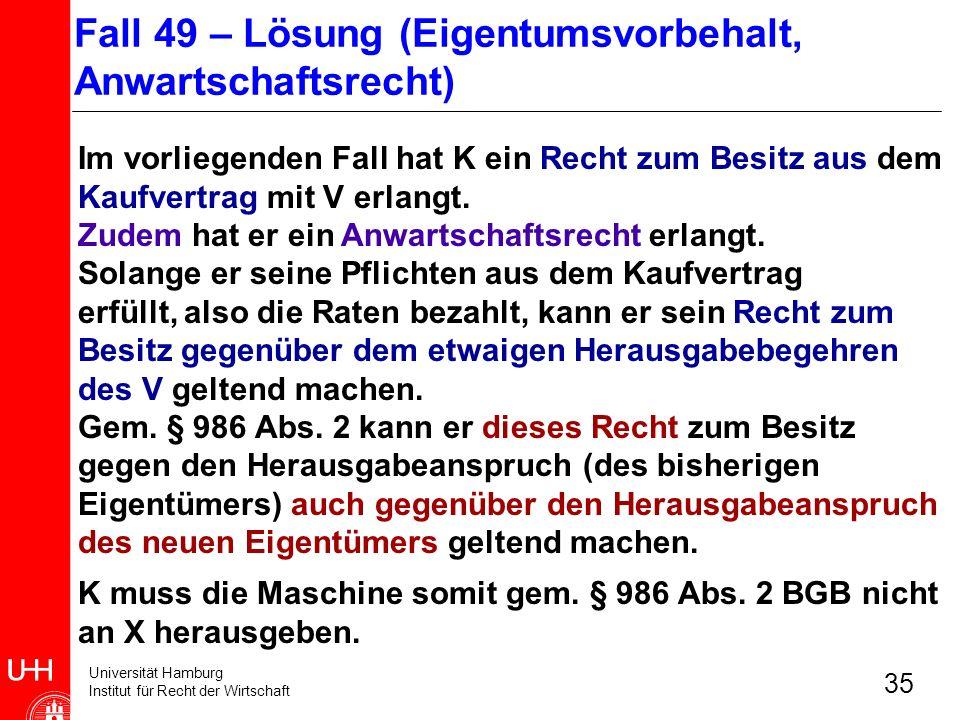Universität Hamburg Institut für Recht der Wirtschaft 35 Im vorliegenden Fall hat K ein Recht zum Besitz aus dem Kaufvertrag mit V erlangt. Zudem hat