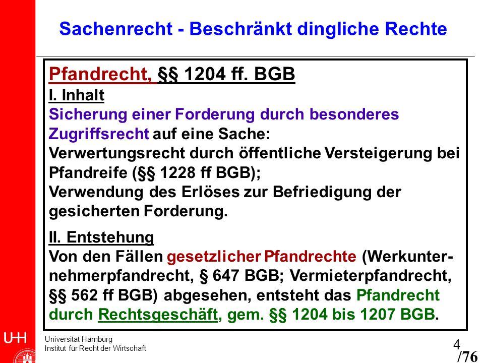 Universität Hamburg Institut für Recht der Wirtschaft 4 Pfandrecht, §§ 1204 ff. BGB I. Inhalt Sicherung einer Forderung durch besonderes Zugriffsrecht