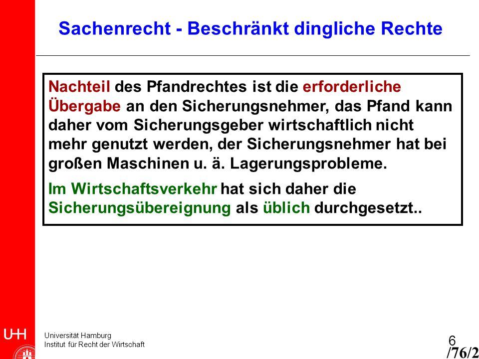 Universität Hamburg Institut für Recht der Wirtschaft 6 Nachteil des Pfandrechtes ist die erforderliche Übergabe an den Sicherungsnehmer, das Pfand ka
