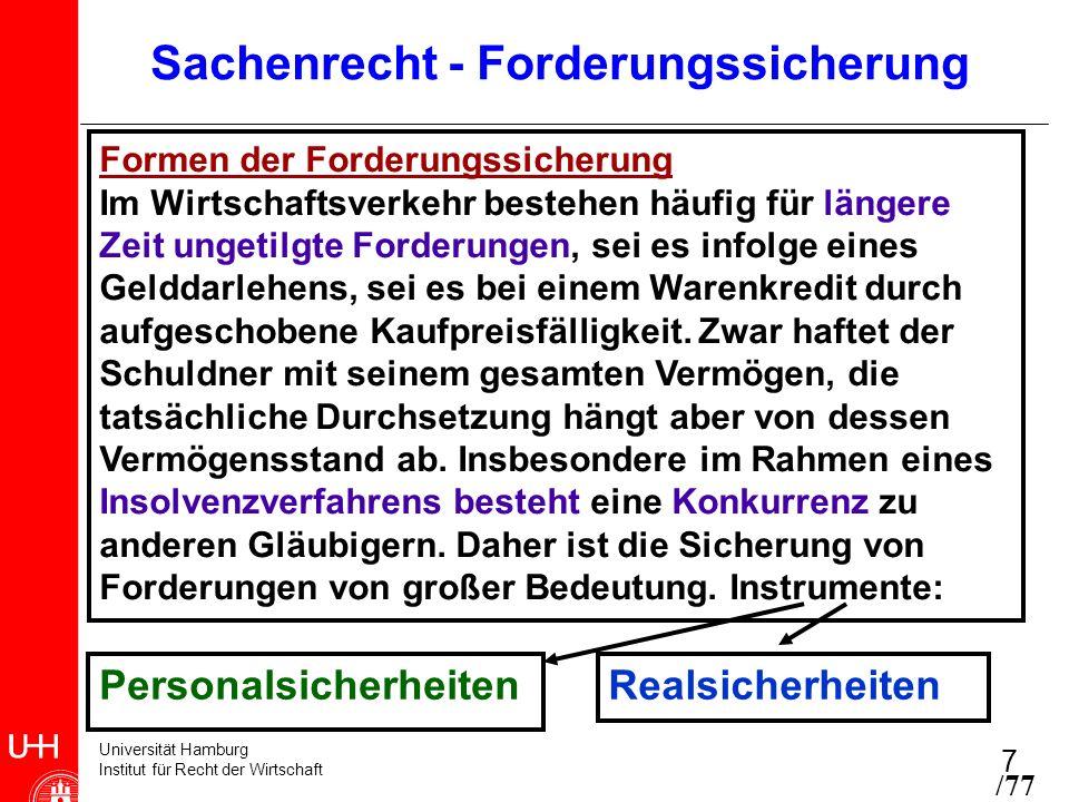 Universität Hamburg Institut für Recht der Wirtschaft 18 Voraussetzungen der Sicherungsübereignung - Übereignung einer Sache gemäß §§ 929, 930 BGB - Sicherungsabrede: Verwertungsrecht nur, wenn gesicherte Forderung notleidend wird - auch an künftigen Sachen (z.