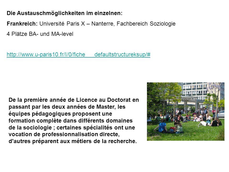 Die Austauschmöglichkeiten im einzelnen: Frankreich: Université Paris X – Nanterre, Fachbereich Soziologie 4 Plätze BA- und MA-level http://www.u-pari