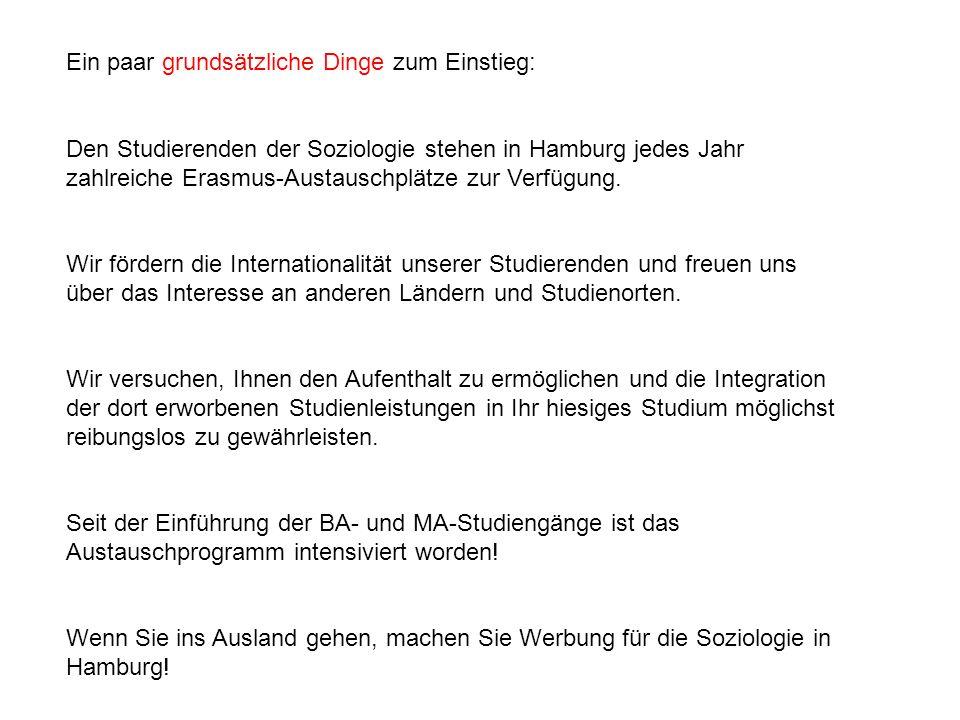 Ein paar grundsätzliche Dinge zum Einstieg: Den Studierenden der Soziologie stehen in Hamburg jedes Jahr zahlreiche Erasmus-Austauschplätze zur Verfügung.