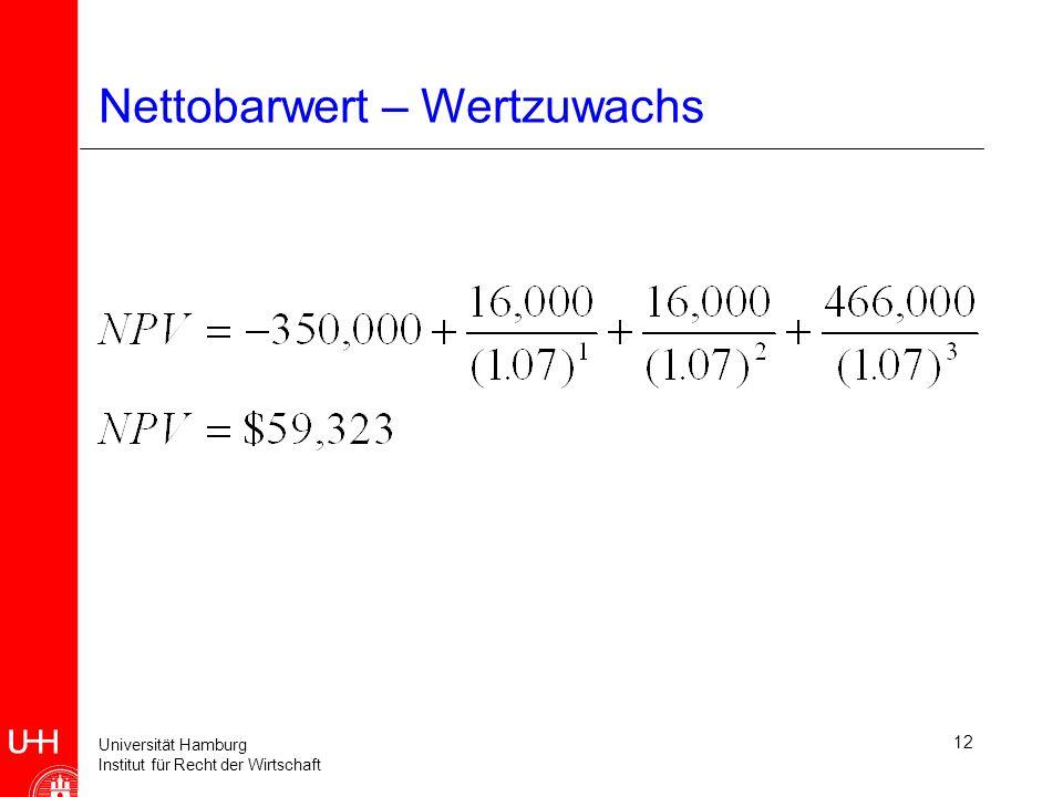 Universität Hamburg Institut für Recht der Wirtschaft 12 Nettobarwert – Wertzuwachs