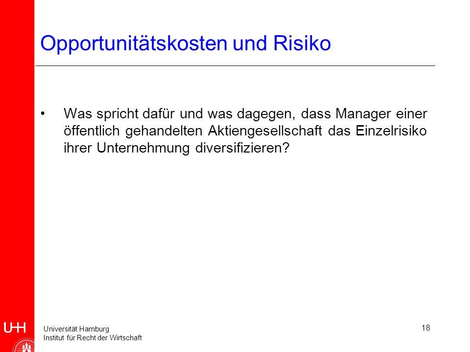 Universität Hamburg Institut für Recht der Wirtschaft 18 Opportunitätskosten und Risiko Was spricht dafür und was dagegen, dass Manager einer öffentlich gehandelten Aktiengesellschaft das Einzelrisiko ihrer Unternehmung diversifizieren