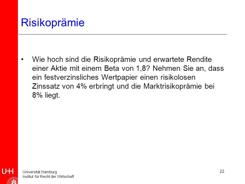 Universität Hamburg Institut für Recht der Wirtschaft 22 Risikoprämie Wie hoch sind die Risikoprämie und erwartete Rendite einer Aktie mit einem Beta von 1,8.