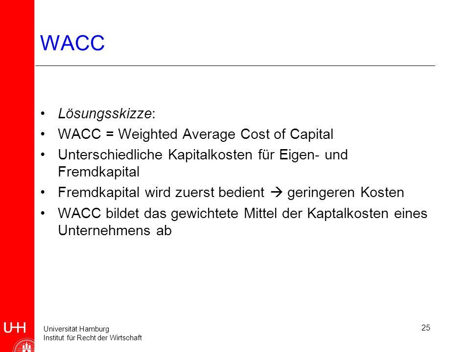 Universität Hamburg Institut für Recht der Wirtschaft 25 WACC Lösungsskizze: WACC = Weighted Average Cost of Capital Unterschiedliche Kapitalkosten für Eigen- und Fremdkapital Fremdkapital wird zuerst bedient geringeren Kosten WACC bildet das gewichtete Mittel der Kaptalkosten eines Unternehmens ab