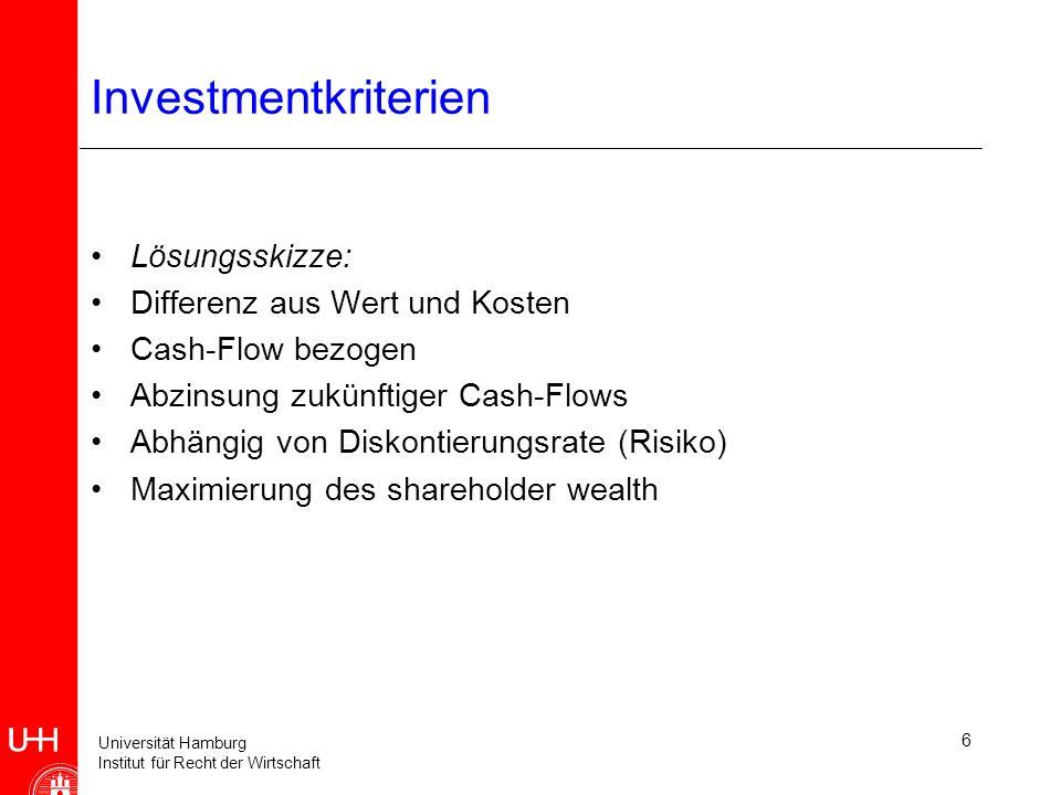 Universität Hamburg Institut für Recht der Wirtschaft 6 Investmentkriterien Lösungsskizze: Differenz aus Wert und Kosten Cash-Flow bezogen Abzinsung zukünftiger Cash-Flows Abhängig von Diskontierungsrate (Risiko) Maximierung des shareholder wealth