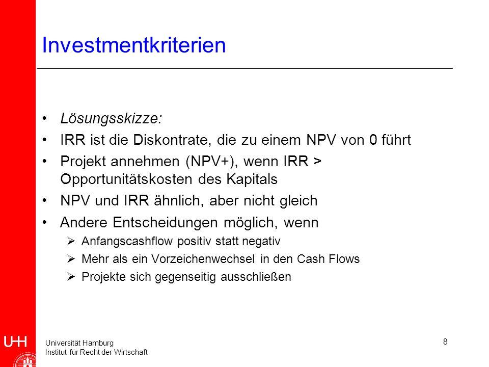 Universität Hamburg Institut für Recht der Wirtschaft 8 Investmentkriterien Lösungsskizze: IRR ist die Diskontrate, die zu einem NPV von 0 führt Projekt annehmen (NPV+), wenn IRR > Opportunitätskosten des Kapitals NPV und IRR ähnlich, aber nicht gleich Andere Entscheidungen möglich, wenn Anfangscashflow positiv statt negativ Mehr als ein Vorzeichenwechsel in den Cash Flows Projekte sich gegenseitig ausschließen