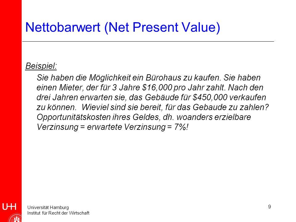 Universität Hamburg Institut für Recht der Wirtschaft 9 Nettobarwert (Net Present Value) Beispiel: Sie haben die Möglichkeit ein Bürohaus zu kaufen.