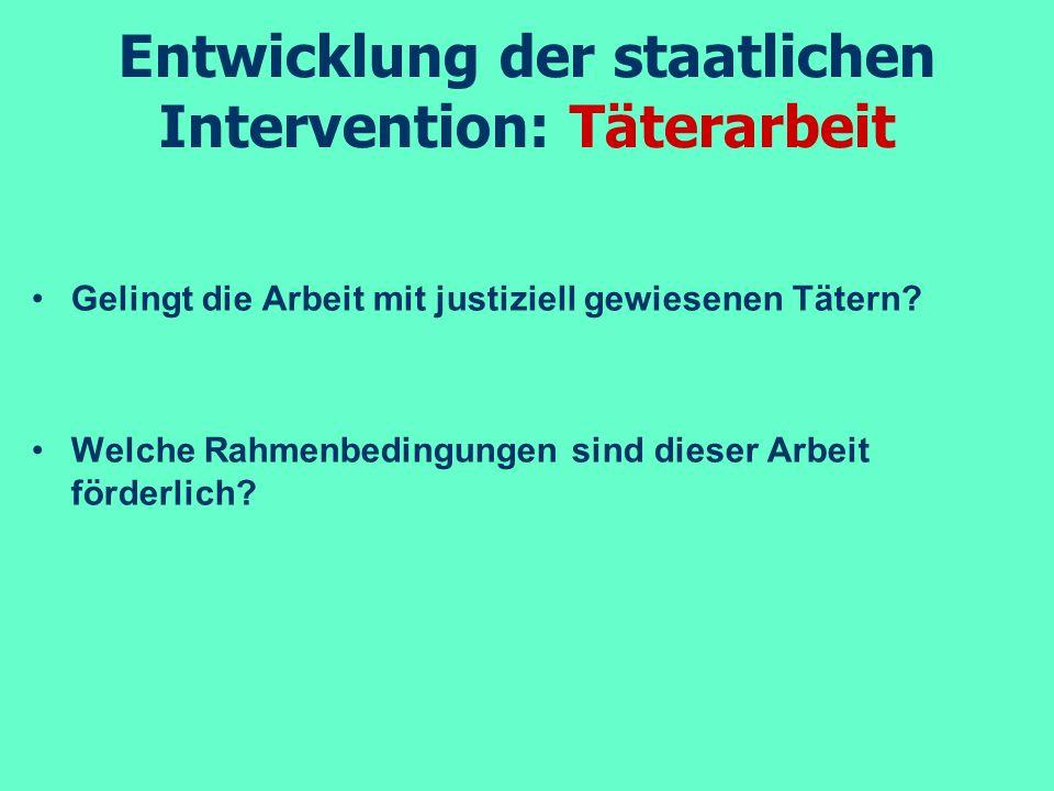 Entwicklung der staatlichen Intervention: Täterarbeit Gelingt die Arbeit mit justiziell gewiesenen Tätern? Welche Rahmenbedingungen sind dieser Arbeit