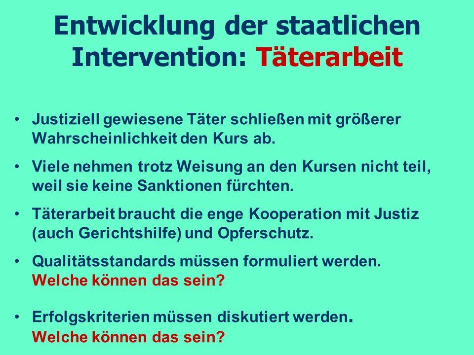 Entwicklung der staatlichen Intervention: Täterarbeit Justiziell gewiesene Täter schließen mit größerer Wahrscheinlichkeit den Kurs ab. Viele nehmen t