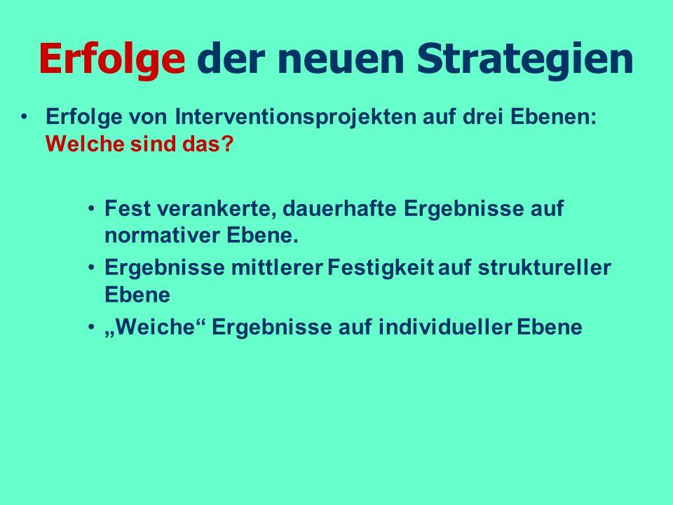 Erfolge der neuen Strategien Erfolge von Interventionsprojekten auf drei Ebenen: Welche sind das? Fest verankerte, dauerhafte Ergebnisse auf normative