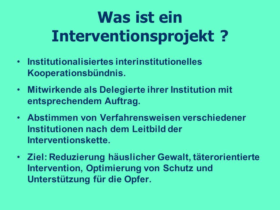 Was ist ein Interventionsprojekt ? Institutionalisiertes interinstitutionelles Kooperationsbündnis. Mitwirkende als Delegierte ihrer Institution mit e