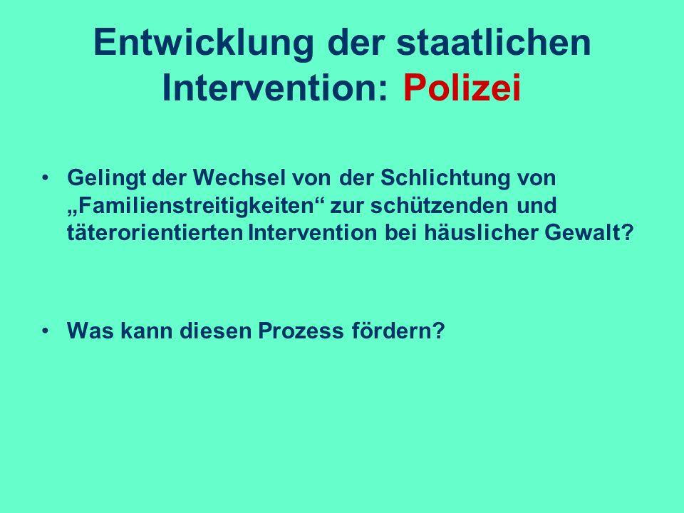 Entwicklung der staatlichen Intervention: Polizei Gelingt der Wechsel von der Schlichtung von Familienstreitigkeiten zur schützenden und täterorientie
