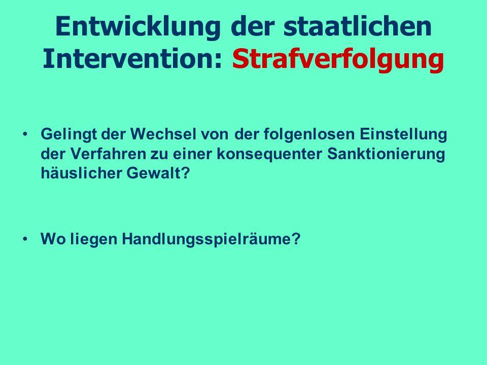 Entwicklung der staatlichen Intervention: Strafverfolgung Sanktionierung durch die Amtsanwaltschaft findet selten statt (mind.