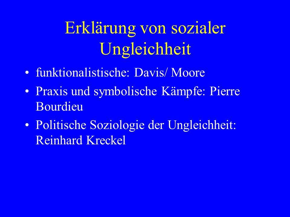 Erklärung von sozialer Ungleichheit funktionalistische: Davis/ Moore Praxis und symbolische Kämpfe: Pierre Bourdieu Politische Soziologie der Ungleich