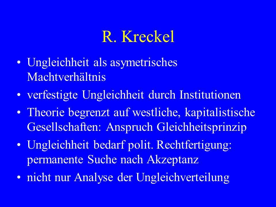 R. Kreckel Ungleichheit als asymetrisches Machtverhältnis verfestigte Ungleichheit durch Institutionen Theorie begrenzt auf westliche, kapitalistische